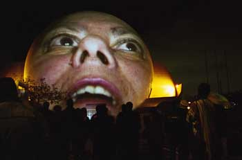 Krzysztof Wodiczko, <i>The Tijuana Projection</i>, February 23-24, 2001. Public projection (as part of In-Site 2000) at Centro Cultural de Tijuana, Mexico. Courtesy the artist and Galerie Lelong, New York.