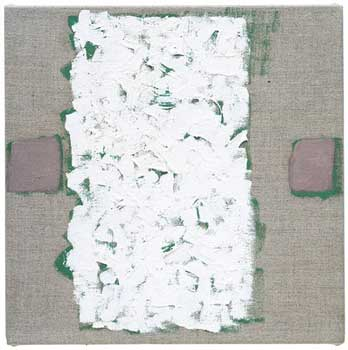 "Robert Ryman, Untitled, 2002. Oil on linen, 10"" x 10"" (25.4 cm x 25.4 cm)."