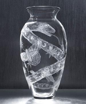 "Kiki Smith, ""Tattoo Vase,"" etched glass, 2008. Courtesy Steuben Glass."
