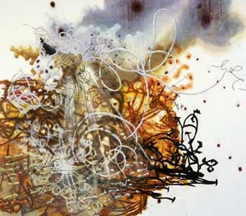 "Matthew Riochie, ""Forge."" 2007, Oil and marker on linen. COurtesy Jay Jopling/White Cube and Andrea Rosen."