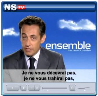 "President Nicholas Sarkozy, ""Merci de m'avoir fait confiance"", video address on NS.TV, 2007."