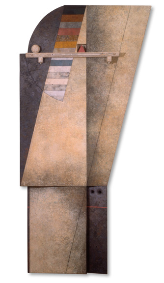 "Marcelo Bonevardi, ""Trapped Angel III,"" 1980. Stitched burlap and wood construction with textured substrate, painted wood assemblage, 97.25"" x 48"". Museo National des Bellas Artes, B.A. Argentina."