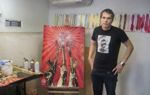 America's most famous artist, Shepard Fairey, in his studio. Photo courtesy www.latco.com