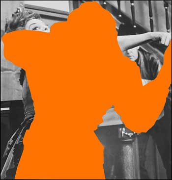 "John Baldessaei ""<u>Two Person Fight</u> (One Orange): With Spectator,"" 2004. Three dimensional digital archival print with acrylic paint on sintra, dibon and gatorfoam panels, 84 x 79 inches. © John Baldessari, courtesy Marian Goodman Gallery, New York."