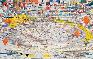 "Julie Mehretu. ""Stadia II,"" 2004. Ink and acrylic on canvas, 108 x 144 inches. Collection of Carnegie Museum of Art, Pennsylvania, Gift of Jeanne Greenberg Rohatyn and Nicolas Rohatyn and A.W. Mellon Acquisition Endowment Fund. Photo by Richard Stoner, © Julie Mehretu, courtesy the artist and The Project, New York."