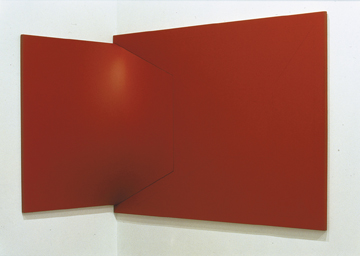 "Castellani Enrico, ""Superficie rosa,"" 1963. Acrylic on canvas, 130x92x21 cm (possibly mislabelled). Courtesy Haunch of Venison."