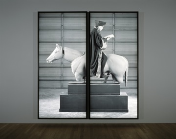 "Rodney Graham, ""Allegory of Folly: Study for an Equestrian Monument in the Form of a Wind Vane"" (2005). Lightbox, two parts, each: 306 x 141 x 18 cm. Photo: Tom Bisig, Basel, courtesy Kunstmuseum Basel, © Rodney Graham."