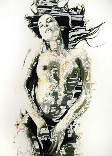 Alicia Ross, Motherboard_5 (The Siren), cross-stitch on cotton, 36 x 51 in, 2008 Courtesy of the artist