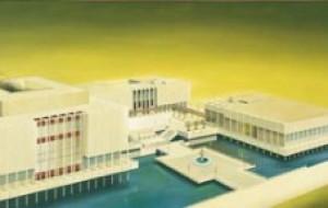 "Ed Ruscha, ""The Los Angeles County Museum on Fire,"" 1968, Oil on canvas. Courtesy edruscha.com."