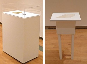 Jaime Pitarch's Erased Drawings for a Show (Left) and an untitled fabric piece by Janet Passehl
