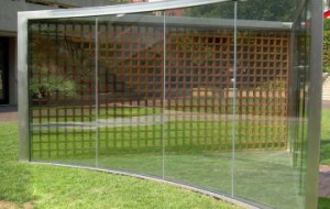 Dan Graham, For Gordon Bunshaft, 2008. Two-way mirror, steel, wood.