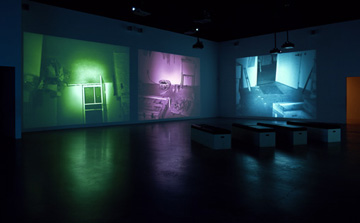 "Bruce Nauman, ""Mapping the studio II with color shift, flip, flop, & flip/flop (Fat Chance John Cage)"", installation view, 2001. Courtesy Tate Modern"