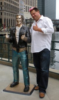 Mike Brenner with his little buddy, the Bronze Fonz
