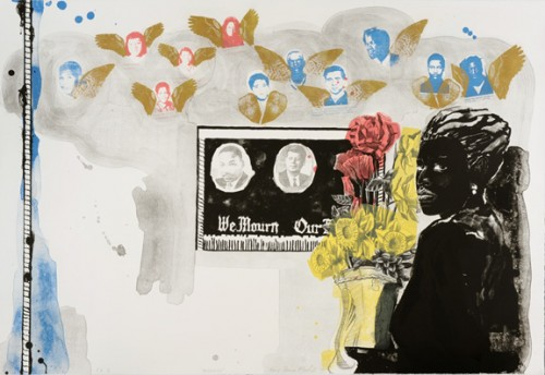 "Kerry James Marshall. ""Memento,"" 1996. Color lithograph with gold powder on soft white Somerset. 30 x 44 in. Edition of 33, Printed and published by Tamarind Institute, Albuquerque, New Mexico. Image courtesy of the artist and Jack Shainman Gallery, New York."