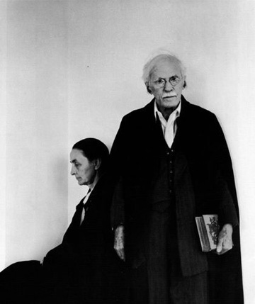 "Arnold Newman, ""Georgia O'Keefe and Alfred Stieglitz,"" Silver print photograph, 1944."