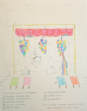 "Jeffrey Augustine Songco, ""sketch for thesis exhibition space."" Courtesy the artist."