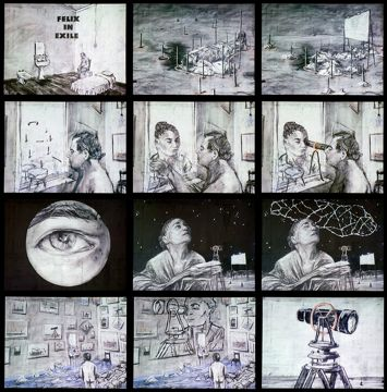 "William Kentridge, ""Felix in Exile,"" 1994. Production stills; 35mm animated film transferred to video. Copyright and courtesy of William Kentridge."