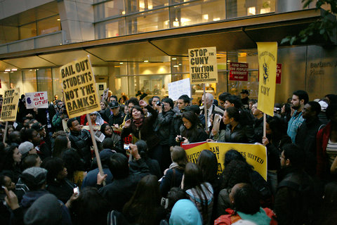 Protesters at Baruch on Monday