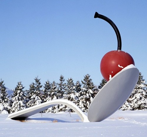"Claes Oldeburg. ""Spoonbridge and Cherry."" Image courtesy Walker Art Center."