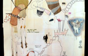 "Jessica Serran,""Flip the Process"", mixed media on file folders, 2009. 73 x 73 inches. Courtesy of the artist."