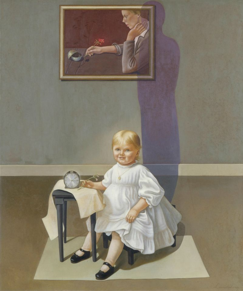 "Helen Lundenberg, ""Double Portrait of the Artist in Time,"""