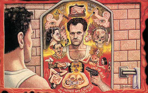 Detail from Joe Coleman's very rare banned original one-sheet for Henry: Portrait Of A Serial Killer (1986)