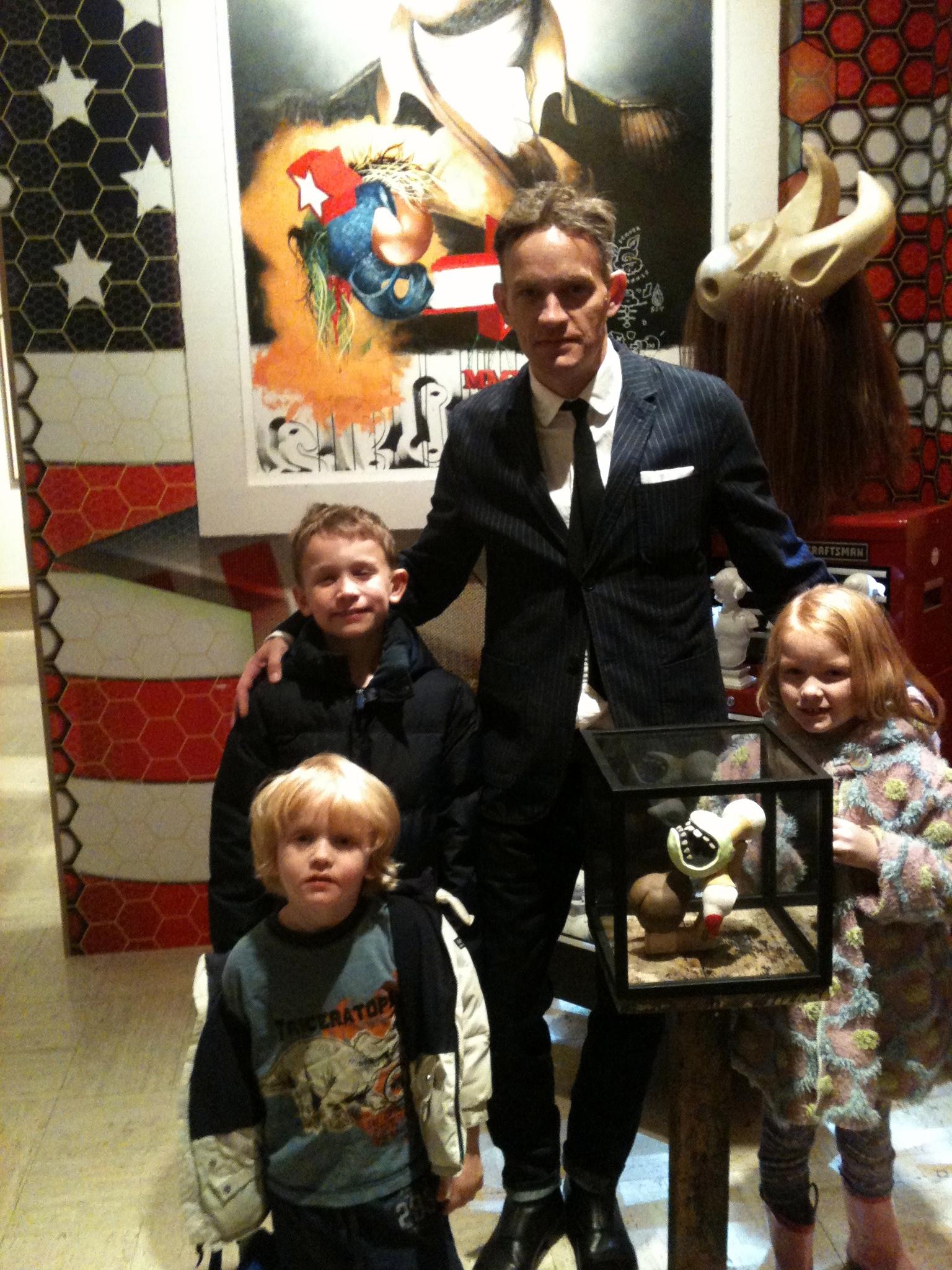 Grand re-opening, Elliott Earls with his kids