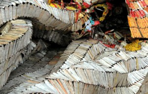 "Production still from the Exclusive video, ""El Anatsui: Studio Practices."""