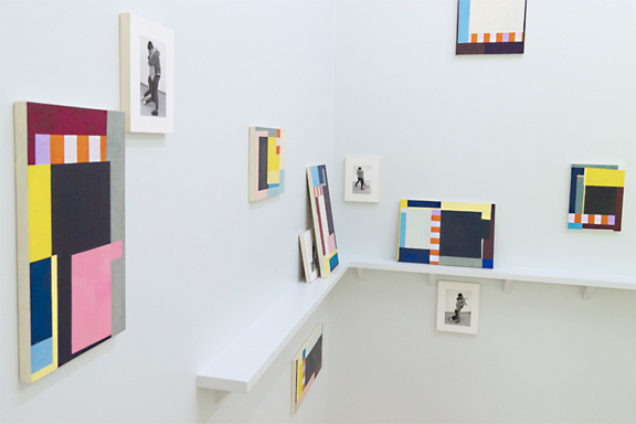 Many Readers of One Event. 2012. (detail) Tempera and Inkjet on wood. Dimensions variable.  Installed for dOCUMENTA 13, Museum Fridericianum and other locations, Kassel, Germany. Courtesy Doug Ashford