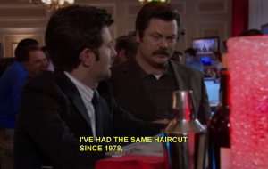 "Ron Swanson does not like new things.  From ""Parks and Recreation"", NBC"