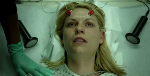 Claire Danes as Carrie gets shock treatment at the end of Season 1