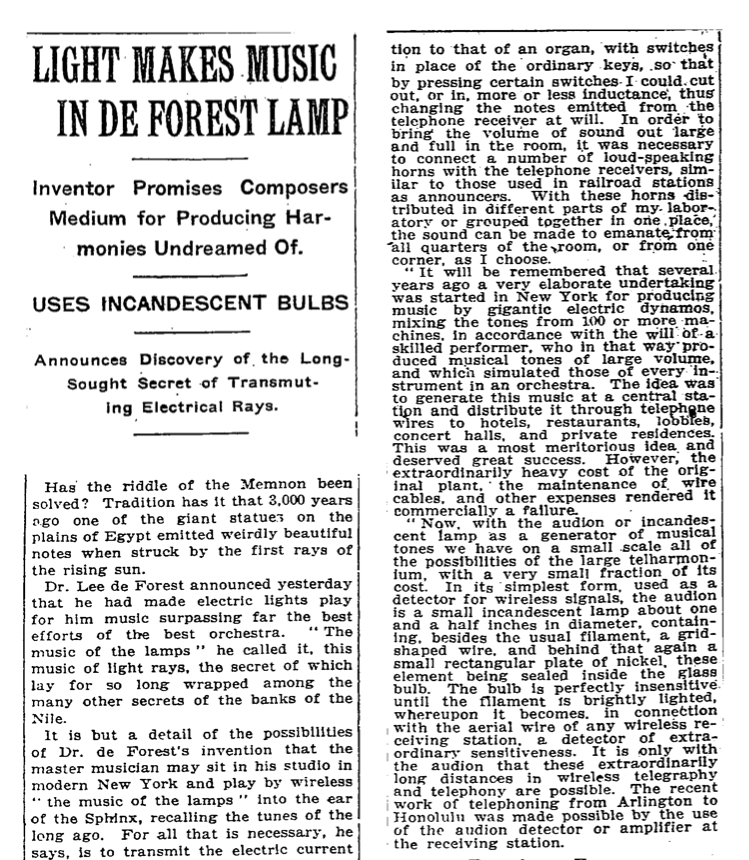"Detail of article ""Light Makes Music In De Forest Lamp"" in The New York Times, October 4, 1915"