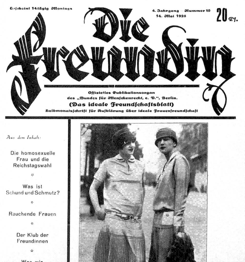 """""""Die Freundin,"""" a magazine geared towards queer women in pre-WWII Berlin"""