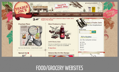 Signifiers of print evident in food/grocery websites like Trader Joe's (ink stamping, brown paper, letterpress type elements, wood grain, etc.)