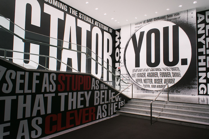 "Barbara Kruger, Untitled (Hello/Goodbye),"" 2014; digital print on vinyl; Hammer Museum  installation. Courtesy the artist and Hammer Museum, Los Angeles, CA."
