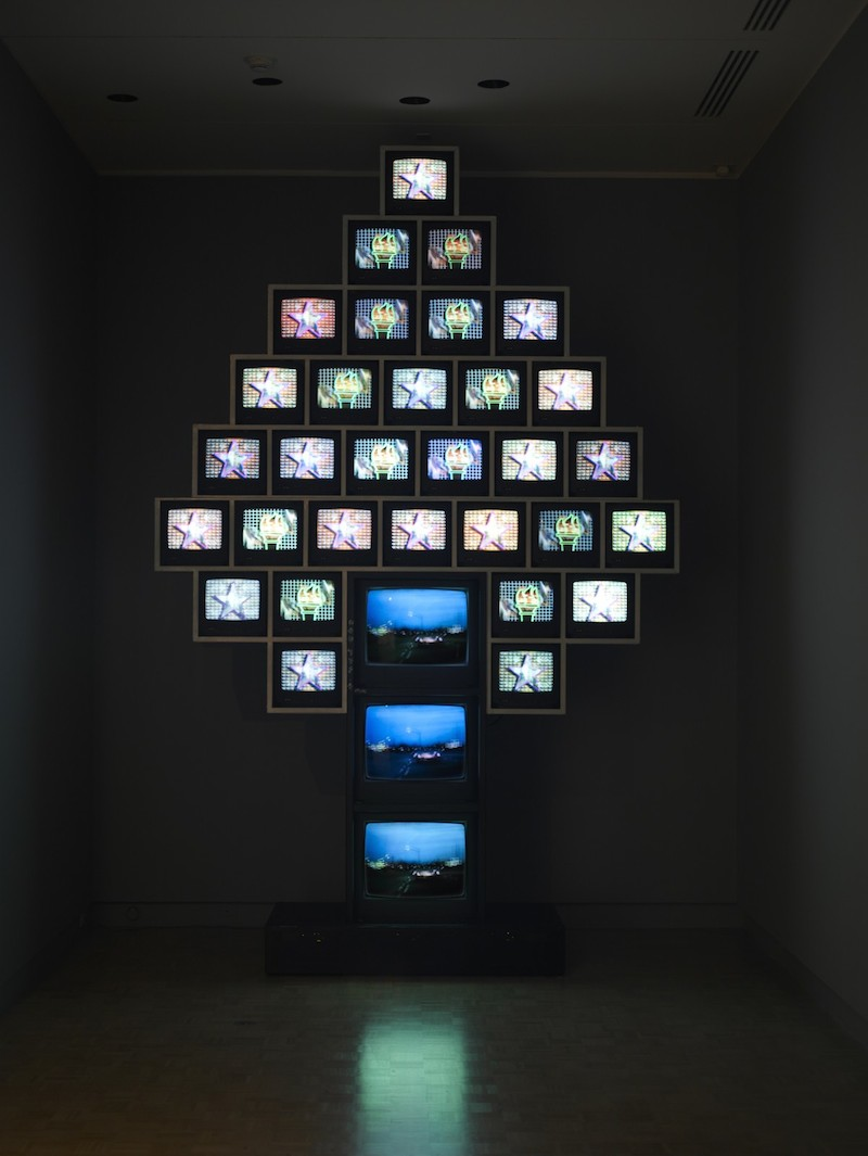 "Nam June Paik. ""Who's Your Tree,"" 1996. Aluminum framework, (31) 13"" televisions, (3) 25"" televisions, (3) laser disk players. Now and Future Purchase Fund and Robert and Ina Mohlman Art Fund. © The Estate of Nam June Paik"