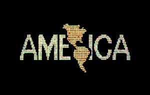 Alfredo Jaar  A Logo for America, 1987 Digital color video, 10 min., 25 sec., edition 2/6; original animation commissioned by Public Art Fund for Spectacolor Sign, Times Square, New York, April 1987. Solomon R. Guggenheim Museum, New York, Guggenheim UBS MAP Purchase Fund Courtesy the artist