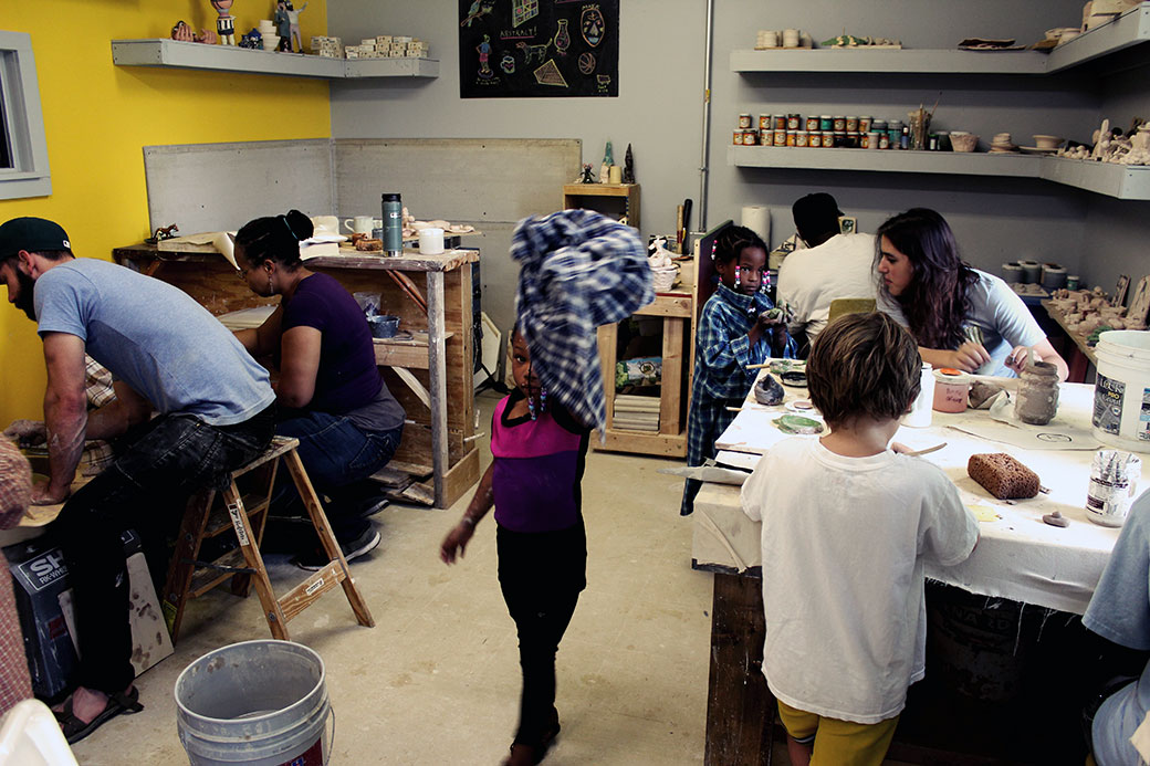 Handbuilding, glazing, and throwing on the wheel in The Union ceramics studio. Courtesy The Union for Contemporary Art.