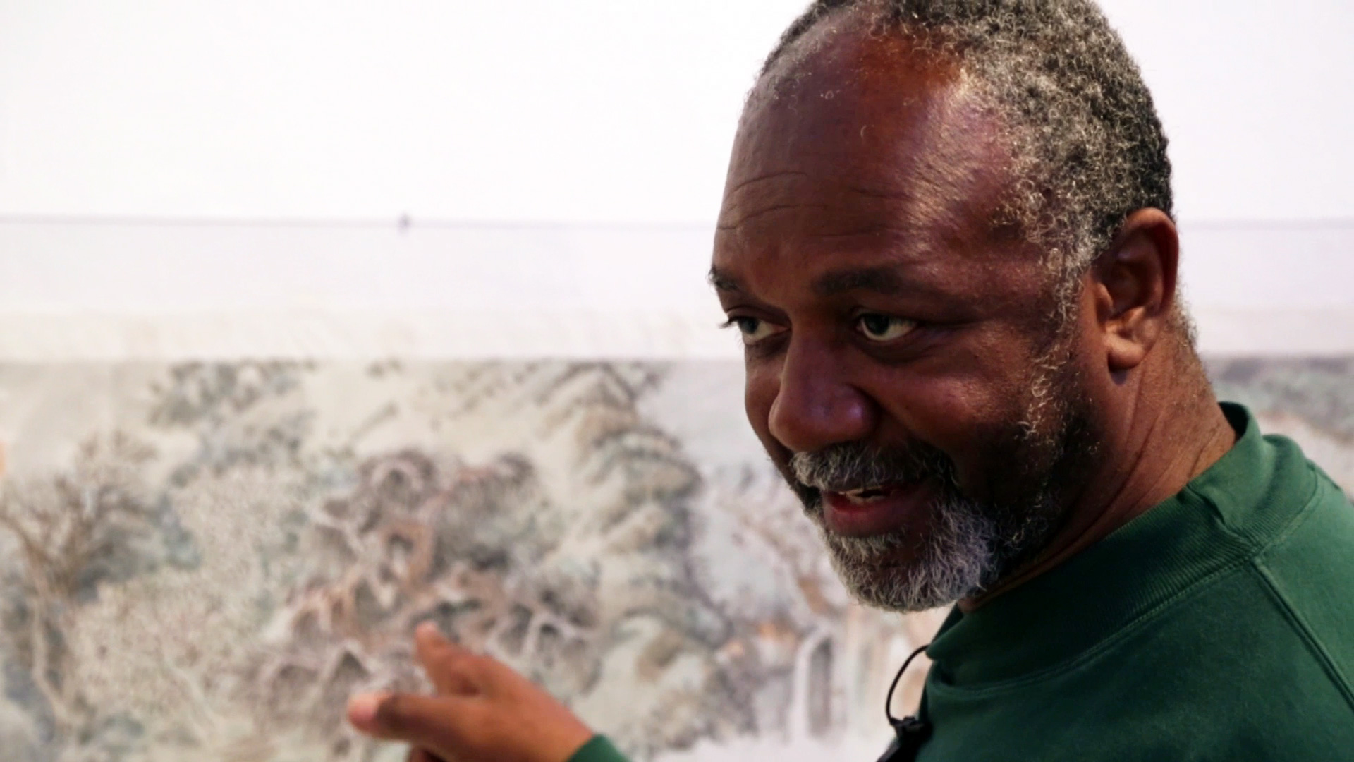 Kerry James Marshall discussing the work of Yun-Fei Ji at the Prospect.3 biennial in New Orleans, Louisiana. Production still from the series ART21 Artist to Artist. © ART21, Inc. 2014. Cinematography: Ian Forster.