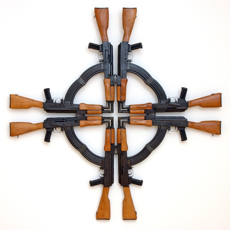 Mel Chin. Cross for the Unforgiven, 2002. AK-47 assault rifles (cut and welded); 54 x 54 x 3 inches. Courtesy of the artist.