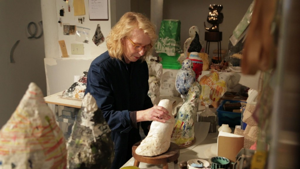 "Arlene Shechet arranging plaster sculptures in her New York City studio. Production still from the series ART21 ""Exclusive"". © ART21, Inc. 2015. Cinematography: Rafael Salazar."
