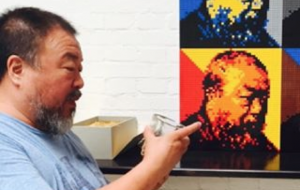 Ai Weiwei with a self-portrait in Legos, via Instagram.