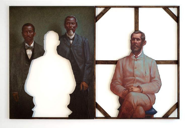 Titus Kaphar. Sacrifice (Diptych), 2011. Oil on canvas, 73 x 52 x 2 1/2 inches.