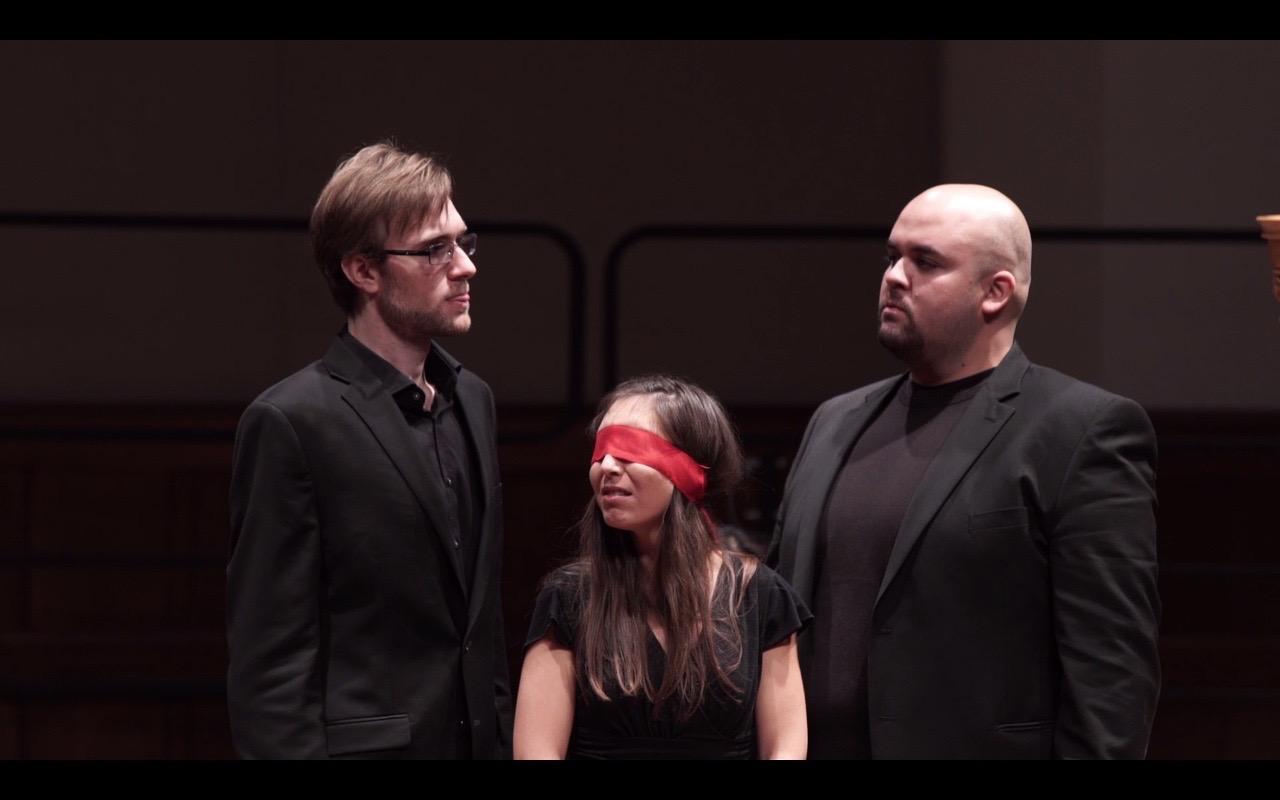 James Hayden, bass as Cigarette Smoke, Saousan Jarjour, soprano as Donia, Justin Su'esu'e as Cologne. Courtesy of Adam Borecki.