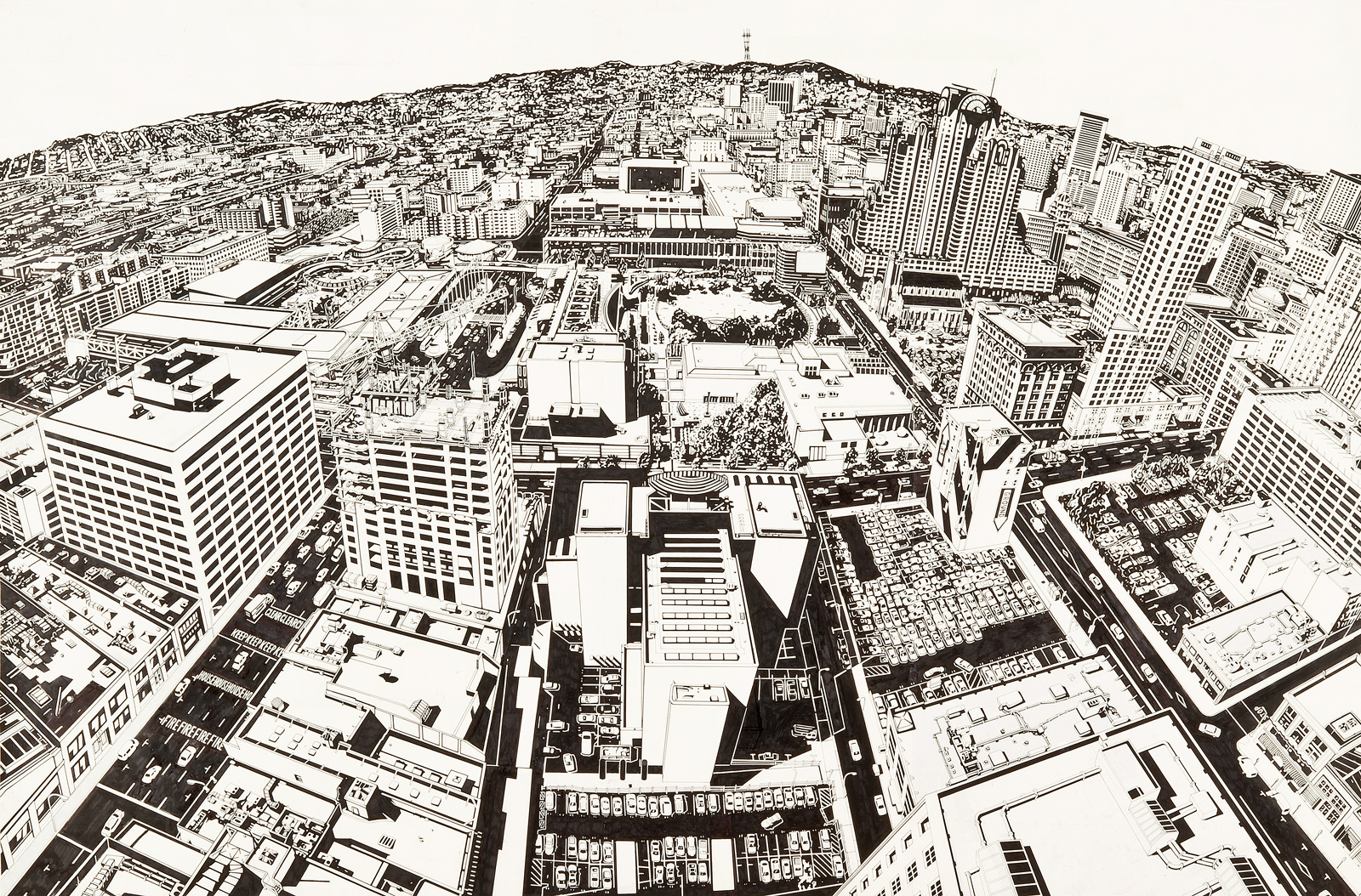 RIgo 98 (now Rigo 23), Study for Looking at 1998 San Francisco from the Top of 1925, 1998.