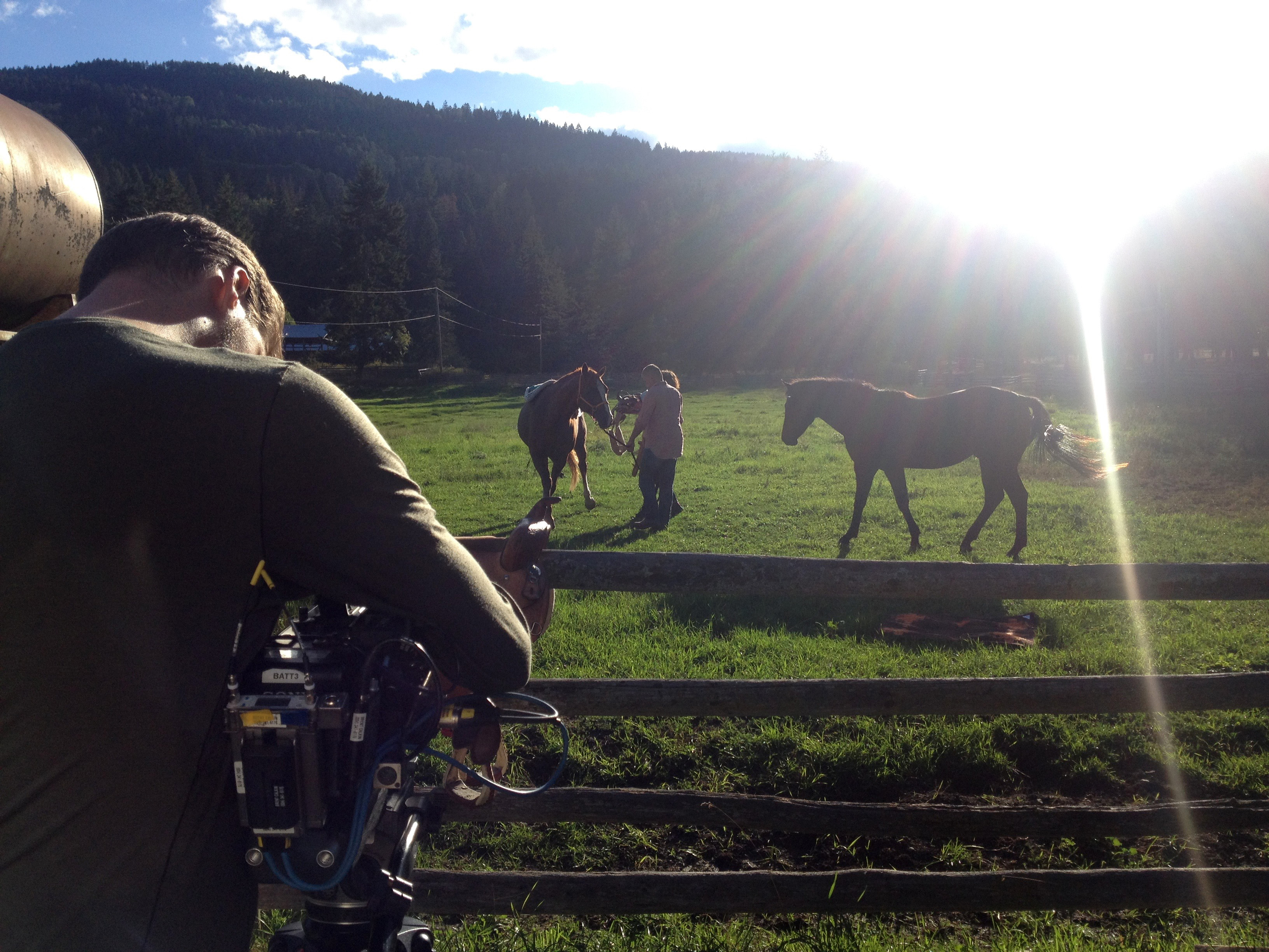 ART21 filming Brian Jungen at his ranch in North Okanagan, Canada, 2015. Behind the scenes of ART21's series Art in the Twenty-First Century, Season 8, 2016. Photo: Wesley Miller. © ART21, Inc. 2016.