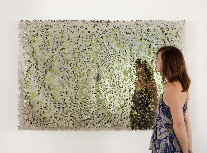 Blind Land (Green Mirror), 2013. Two layers of polished precision-cut stainless steel, 46.5 x 70.5 inches. Courtesy the artist, and Lehmann Maupin, New York and Hong Kong.
