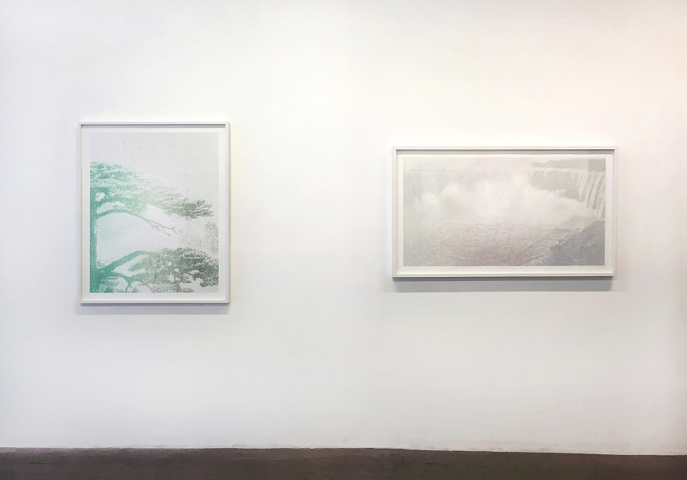 Jesse Chun. Landscape #5 and Landscape #7 (Installation View), 2015 and 2014, Archival Pigment Prints, 43 x 35 inches, 35 x 56 inches. Courtesy Jesse Chun and Spencer Brownstone Gallery, New York. © Jesse Chun.