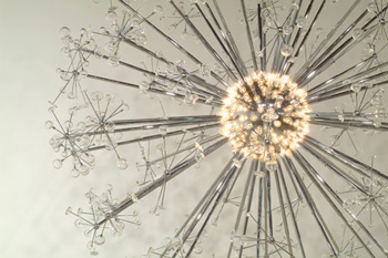 """osiah McElheny, """"The Last Scattering Surface"""" (detail), Handblown glass, chrome plated aluminum, rigging, electric lighting. Courtesy of Donald Young Gallery"""