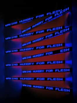 """Jenny Holzer, <i>Purple Cross</i>, 2004. Electronic LED sign. Installation view: Galerie Yvon Lambert, Paris. Photo by Attilio Maranzano. © 2007 Jenny Holzer, member Artist Rights Society (ARS), New York. Text: """"Blur"""", from MIDDLE EARTH by Henri Cole. Copyright © 2003 by Henri Cole. Used by/reprinted with permission of Farrar, Straus and Giroux, LLC."""